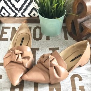 Zara Basic Collection nude bow flats, size 9